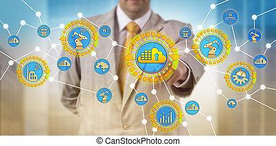 via, recipiente, controlar, app, iot, cps, nuvem, homem