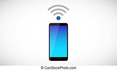 via, symbole, gratuite, smartphone, connecter, wi-fi