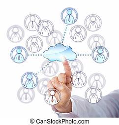 via, travail, quatre, contacter, membres, équipe, nuage