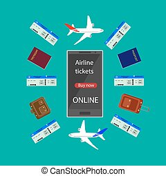 via, vol, ligne aérienne, infographic., ligne, airline., téléphone, tickets., achat, internet, billet, ou, intelligent, réservation