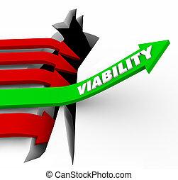 viability, 矢, 上昇, 可能, 潜在性, 成功, feasibility