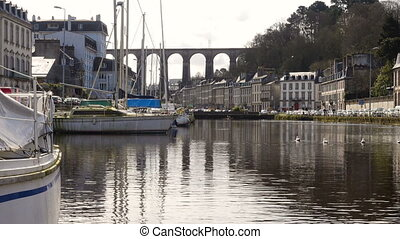 Viaduct and yachts at Morlaix - view of viaduct and yachts...