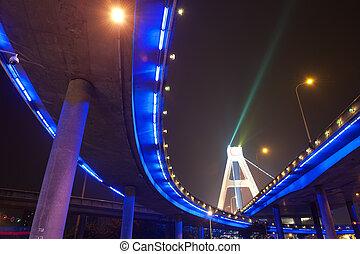 viaduct, helder, onder, stedelijke , lichten