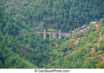 Viaduct in the valley, autumn