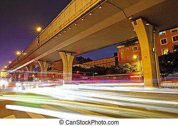 viaduct, licht, vaag, hoog, verkeer, onder, sporen, snelheid