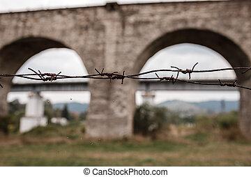 viaduct., mordaz, plano de fondo, cerca, primer plano.