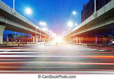 viadukt, und, licht, spur