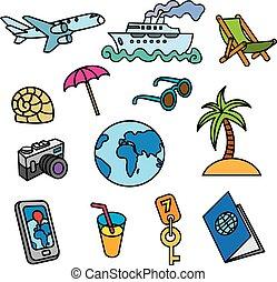 viagem, ícones conceito