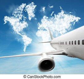 viagem, aeronave