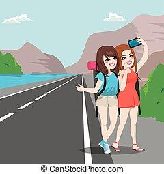 viagem, amigos menina, hitchhiking
