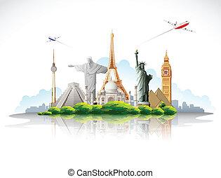 viagem, ao redor mundo