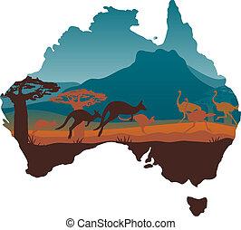 viagem, austrália, desenho, modelo