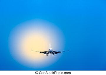 viagem, avião, aproximação, aterragem, ar