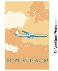 viagem, avião, retro, bon