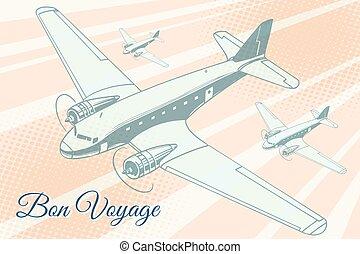 viagem, bon, fundo, aviação