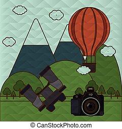 viagem, câmera, desenho, ícone
