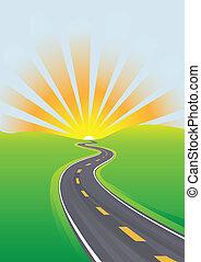 viagem, céu, manhã, futuro luminoso, rodovia