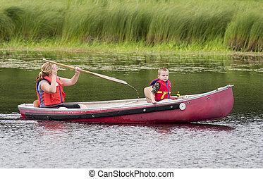 viagem, canoa