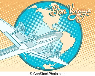 viagem, cartaz, abstratos, avião, retro, bon