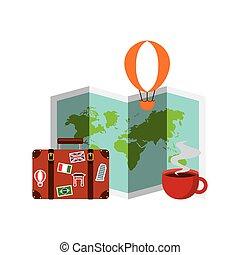 viagem, coloridos, ícones