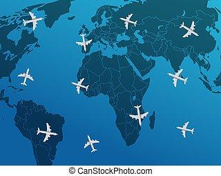 viagem, conceito, ar, vetorial, airplanes., ilustração