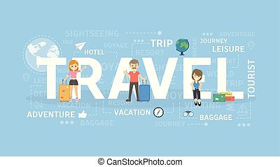 viagem, conceito, illustration.