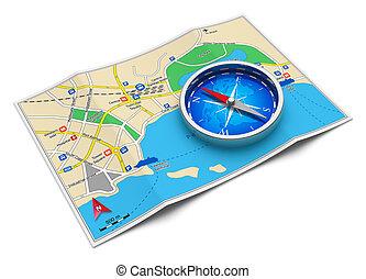 viagem, conceito, turismo, navegação, gps