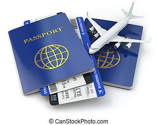 viagem, concept., passaportes, bilhetes linha aérea, e,...