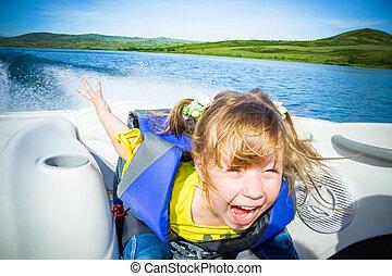 viagem, de, crianças, ligado, água, em, a, bote