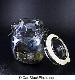 viagem, dinheiro, frasco vidro, mundo, férias, planificação, moeda corrente