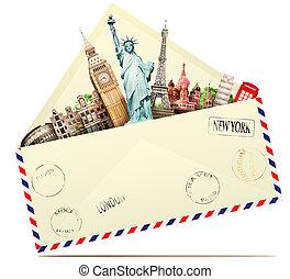 viagem, em, a, envelope