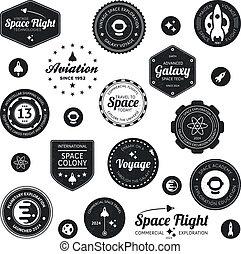 viagem, emblemas, espaço