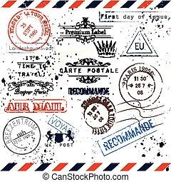 viagem, estilo, grunge, selos, vindima, viagem, immitation, cobrança, paris, tema, vetorial, poste, vocação