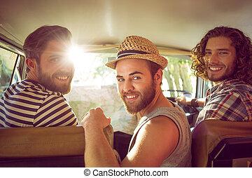 viagem estrada, hipster, amigos