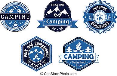 viagem, etiquetas, desenho, emblemas, acampamento