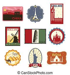 viagem, etiquetas, ou, emblemas