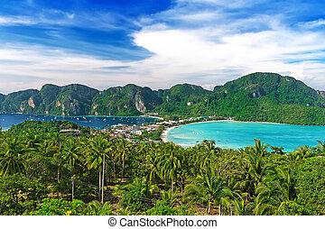 viagem, férias, fundo, -, phi-phi, ilha, província krabi, tha