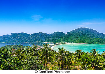 viagem, férias, fundo, -, phi-phi, ilha, tailandia, ásia