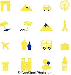 viagem, férias, &, marcos, ícones, cobrança, isolado, branco