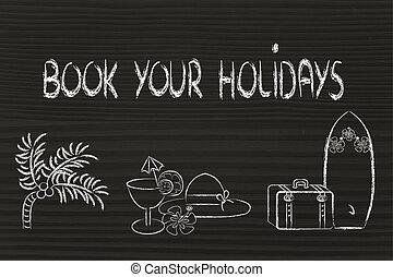 viagem feriado, planificação, industry:, reserva