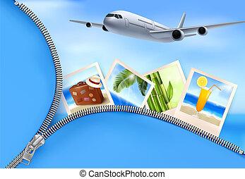viagem, fotografias, holidays., vetorial, fundo, avião, concept.
