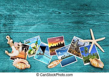 viagem, fotografias, madeira, fundo, azure, seashells