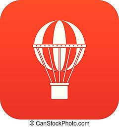 viagem global, conceito, ícone, digital, vermelho