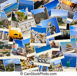 viagem, grécia, fotografias, pilha
