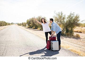 viagem, hitchhiker, par, ligado, um, estrada