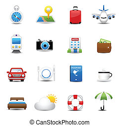 viagem, hotel, ícones