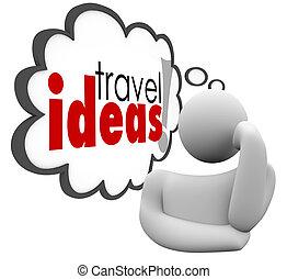 viagem, idéias, férias, pensamento, pensador, brainstorming, plano, nuvem