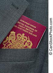 viagem, imagem, de, um, reino unido, passaporte