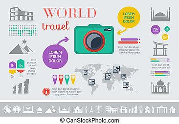 viagem, infographic, template.