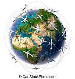 viagem internacional, ar